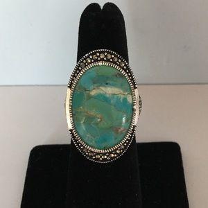 Jewelry - New Turquoise Swarovski Marcasite Silver Ring 7